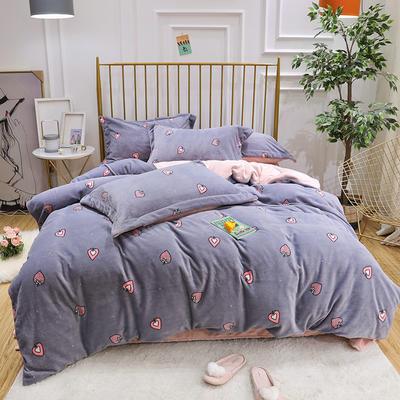 2019新款牛奶绒印花四件套 1.5m(5英尺)床四件套 草莓爱心-蓝色
