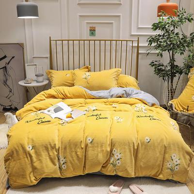 2019新款牛奶绒印花四件套 1.5m(5英尺)床四件套 雏菊-黄色