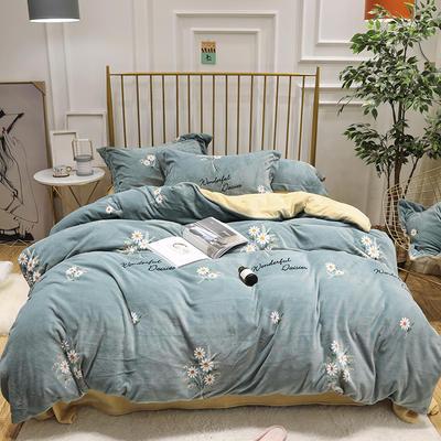 2019新款牛奶绒印花四件套 1.5m(5英尺)床四件套 雏菊-绿色