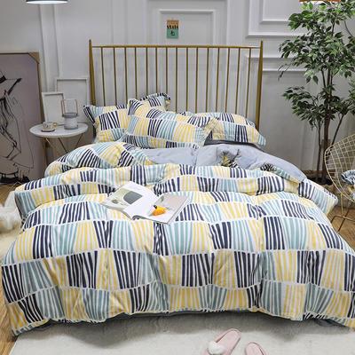 2019新款牛奶绒印花四件套 1.8m(6英尺)床四件套 黄蓝绿竖条