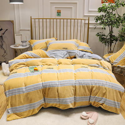 2019新款牛奶绒印花四件套 2.0m(6.6英尺)床四件套 黄条