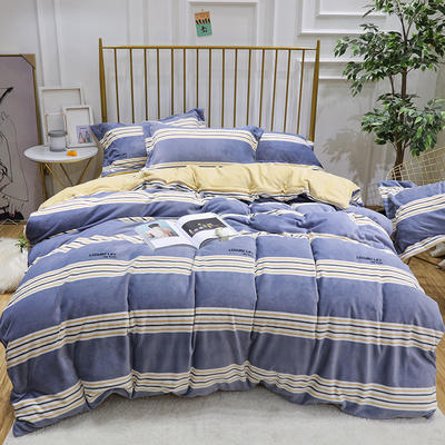 2019新款牛奶絨印花四件套 1.8m(6英尺)床四件套 藍條
