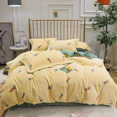 2019新款牛奶绒印花四件套 1.2m(4英尺)床三件套 萝卜-黄色