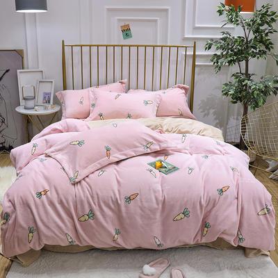 2019新款牛奶绒印花四件套 1.8m(6英尺)床四件套 萝卜-粉色