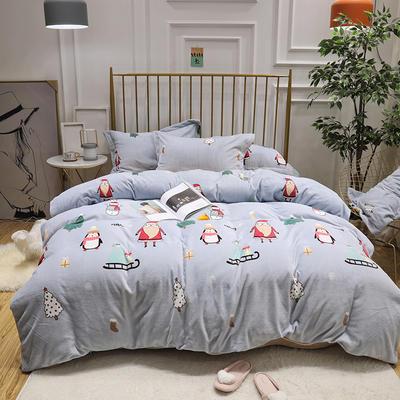 2019新款牛奶绒印花四件套 1.8m(6英尺)床四件套 圣诞-蓝色