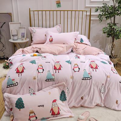 2019新款牛奶绒印花四件套 1.8m(6英尺)床四件套 圣诞-粉色