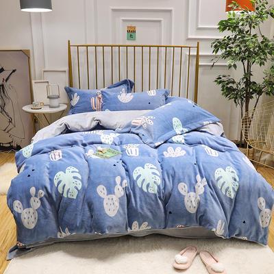 2019新款牛奶绒印花四件套 2.0m(6.6英尺)床四件套 仙人掌-蓝色
