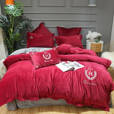 2019新款宝宝绒四件套 2.0m(6.6英尺)床单款 凯撒红