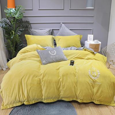 2019新款寶寶絨四件套 1.8m(6英尺)床單款 凱撒黃色