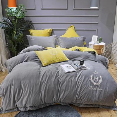 2019新款寶寶絨四件套 1.8m(6英尺)床單款 凱撒灰色