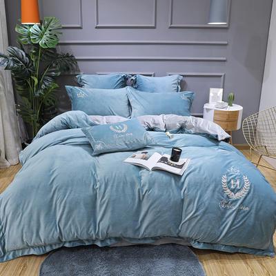 2019新款寶寶絨四件套 1.8m(6英尺)床單款 凱撒淺石蘭