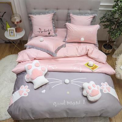 2019新款60S长绒棉刺绣四件套(实拍) 2.0m(6.6英尺)床单款 晚安喵