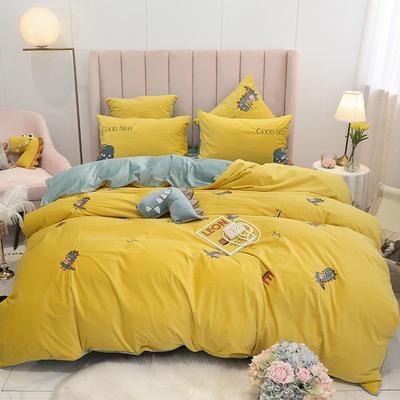 2019新款意大利绒四件套 1.2m床单款三件套 小恐龙-黄色