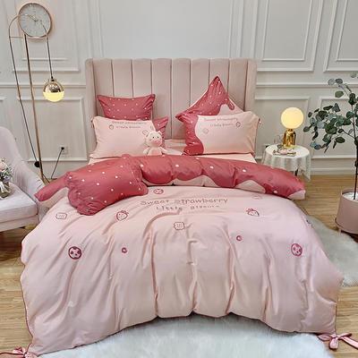 2020新款60S長絨棉四件套 1.5m(5英尺)床 甜蜜草莓