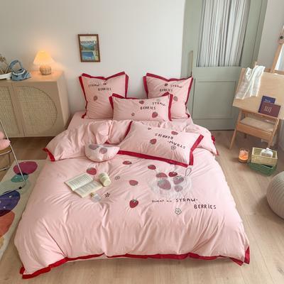 2020新款-水洗棉四件套 1.2m床单款三件套 一碗草莓