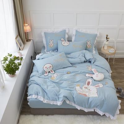 2020新款-双层纱兔子四件套a 1.2m床单款三件套 蓝