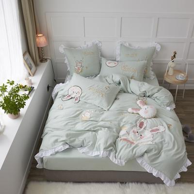 2020新款-双层纱兔子四件套a 1.2m床单款三件套 绿