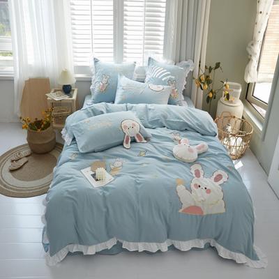 2020新款-双层纱兔子四件套b 1.5m床单款四件套 蓝