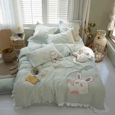 2020新款-双层纱兔子四件套b 1.5m床单款四件套 绿