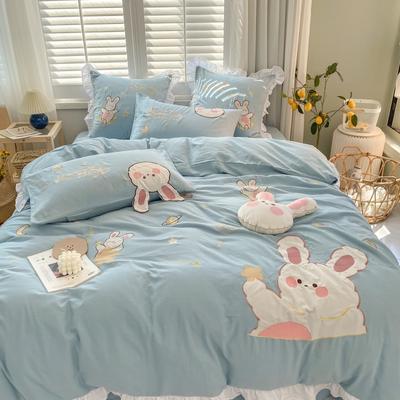2020新款-双层纱兔子四件套c 1.5m床单款四件套 蓝