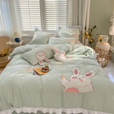 2020新款-双层纱兔子四件套c 1.2m床单款三件套 绿