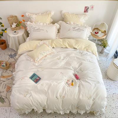 2021新款-全棉水洗棉绣花四件套 1.8m床单款四件套 花语