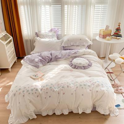 2021新款-全棉水洗棉绣花四件套 1.5m床单款四件套 密境