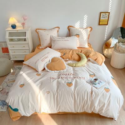 2021新款-全棉水洗棉绣花四件套 1.2m床单款三件套 桃桃芝士