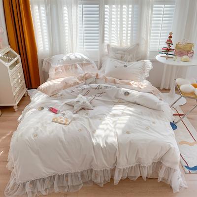 2021新款-全棉水洗棉绣花四件套 1.5m床单款四件套 星辰