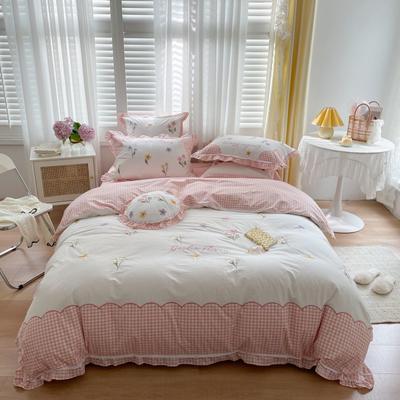 2021新款水洗棉卡通四件套 1.2m床单款三件套 晴蜂《粉》
