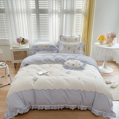 2021新款水洗棉卡通四件套 1.2m床单款三件套 晴蜂《蓝》