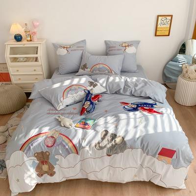 2021新款水洗棉卡通四件套 1.2m床单款三件套 快乐玩伴