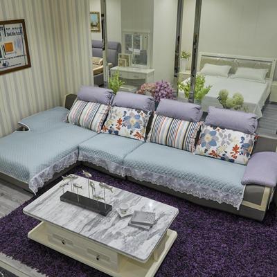 2019新款-富贵棉大花边沙发垫 1+2+4 纯色-灰青