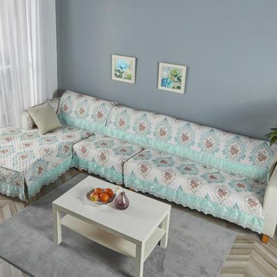 2019新款-细麻料-网纱大边沙发垫 3贵妃开口+3贵妃开口+4 浪漫之约-绿