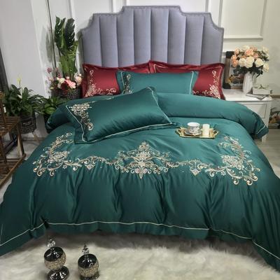 2019新款水洗歐式繡花四件套-戀上米蘭(實拍圖) 1.8m(6英尺)床 歐式墨綠