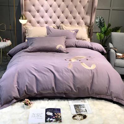 2019新款全棉磨毛刺绣款-羽毛 1.5m-1.8m床单款 中紫