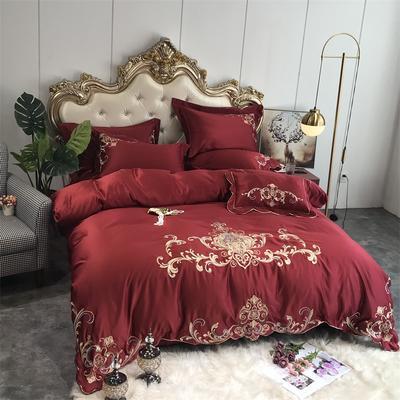 2019新款60水洗真丝四件套-欧雅(实拍图) 1.8m(6英尺)床 酒红