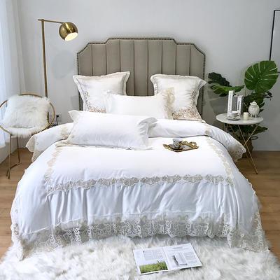 2019新款水洗蕾丝款四件套-梦巴黎(实拍图) 1.8m(6英尺)床 蕾丝白色