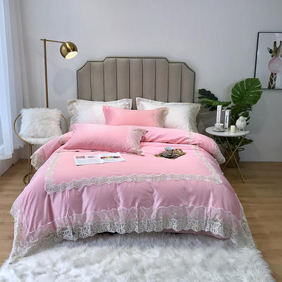 2019新款水洗蕾丝款四件套-梦巴黎(实拍图) 1.8m(6英尺)床 蕾丝粉色