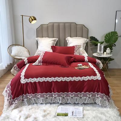 2019新款水洗蕾丝款四件套-梦巴黎(实拍图) 1.8m(6英尺)床 蕾丝酒红