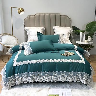 2019新款水洗蕾丝款四件套-梦巴黎(实拍图) 1.8m(6英尺)床 蕾丝墨绿