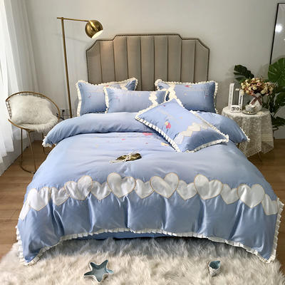 2019新款60水洗真絲四件套-甜蜜心動 1.8m(6英尺)床單款 甜蜜心動—天空藍