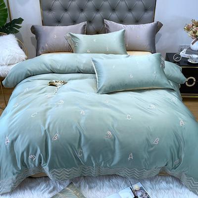 水洗真丝系列四件套简约ABC 1.5m(5英尺)床单款 豆绿