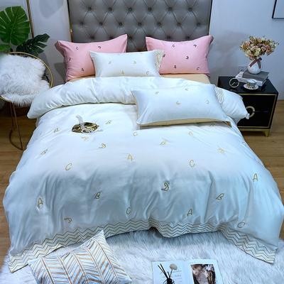 水洗真丝系列四件套简约ABC 1.5m(5英尺)床单款 米白