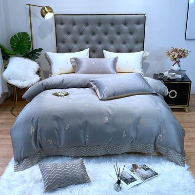 水洗真丝系列四件套简约ABC 1.5m(5英尺)床单款 银灰