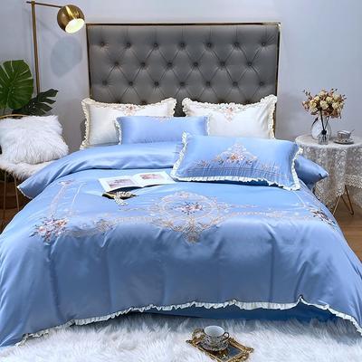 水洗真丝系列四件套-欧迪纳 1.8m(6英尺)床单款 欧迪纳-天蓝