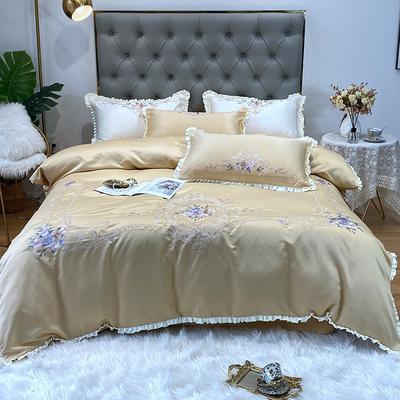 水洗真丝系列四件套-欧迪纳 1.8m(6英尺)床单款 欧迪纳-玉米黄