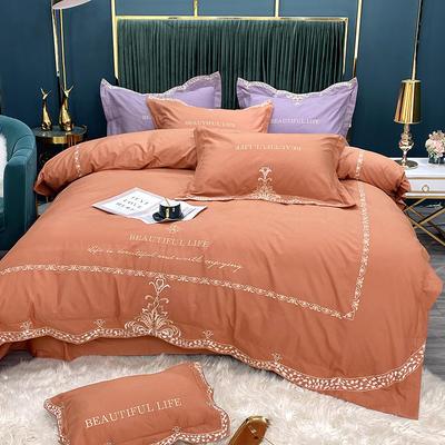 2020新款新款加厚磨毛系列四件套-乔亿斯 1.8m床单款四件套 橙红