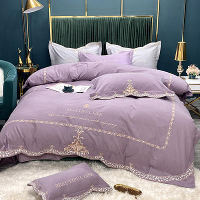 2020新款新款加厚磨毛系列四件套-乔亿斯 1.8m床单款四件套 中紫