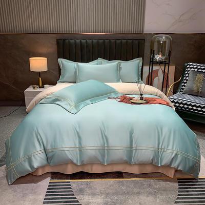 2021新款-双面冰丝刺绣款四件套米兰 1.8m床单款四件套 爱心蓝